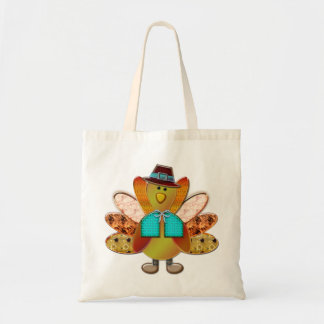 Cute Patterned Designer Pilgrim Turkey Budget Tote Bag