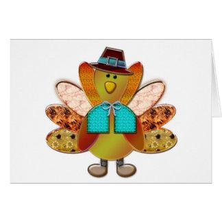 Cute Patterned Designer Pilgrim Turkey Card