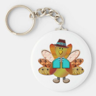 Cute Patterned Designer Pilgrim Turkey Keychain