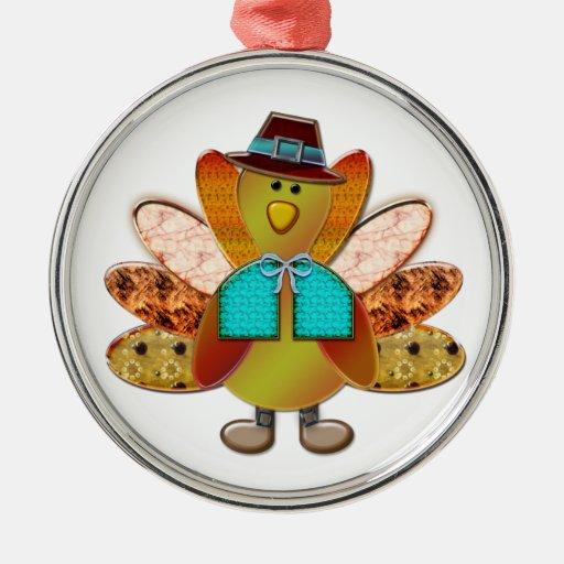 Cute Patterned Designer Pilgrim Turkey Christmas Ornament
