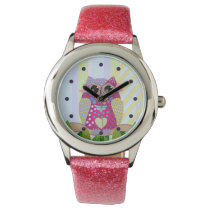 Cute Patterns Owl & Stripes custom Watch