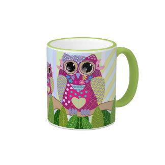Cute Patterns Owl & Stripes mug