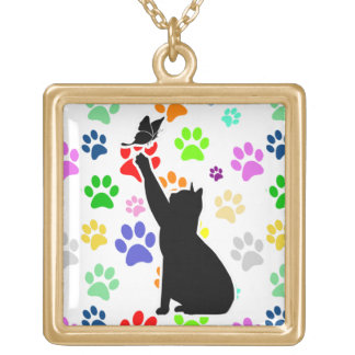 Cute Paw Pattern and Cat Chasing a butterfly Gold Plated Necklace