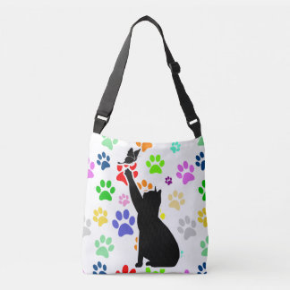 Cute Paw Pattern Cat Chasing a butterfly Crossbody Bag