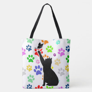 Cute Paw Pattern Cat Chasing a butterfly Tote Bag