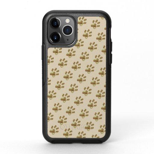 Cute Paw Pattern on Beige OtterBox Symmetry iPhone 11 Pro Case