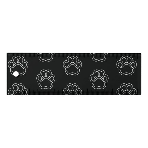 Cute Paw Print Animal Dog Lover White Line Contour Ruler