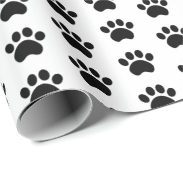 iheartdog Cute Paw Print Pattern Wrapping Paper