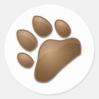 cute paw print round stickers