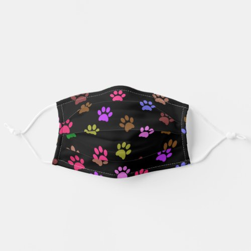 Cute Paw Prints Pattern Black Cloth Face Mask