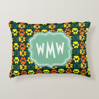 Cute Paw Prints pattern with Monogram Accent Pillow