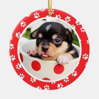 Cute Paw Prints | Puppy's First Christmas Photo Ceramic Ornament