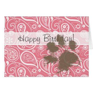Cute Pawprint on Blush Pink Paisley Greeting Card