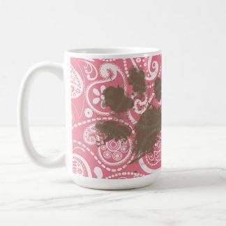 Cute Pawprint on Blush Pink Paisley Coffee Mug