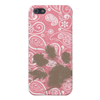 Cute Pawprint on Blush Pink Paisley iPhone 5 Cases