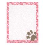 Cute Pawprint on Blush Pink Paisley Letterhead Template