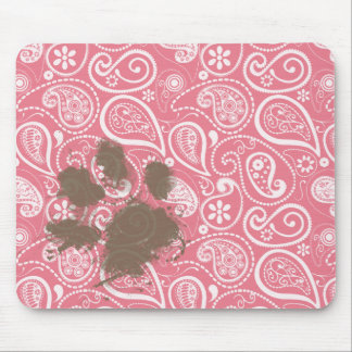 Cute Pawprint on Blush Pink Paisley Mouse Pad