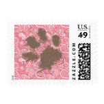 Cute Pawprint on Blush Pink Paisley Postage