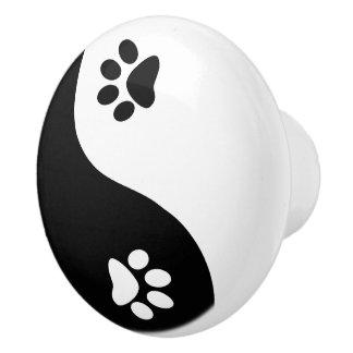 Cute Paws Yin Yang Symbol Ceramic Knob