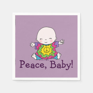 Cute Peace Baby Hippie / Hippy Tie Dye Napkin
