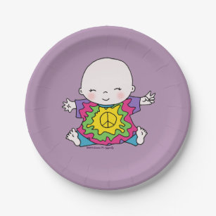 Cute Peace Baby Hippie / Hippy Tie Dye Paper Plate & Tie Dyed Plates | Zazzle