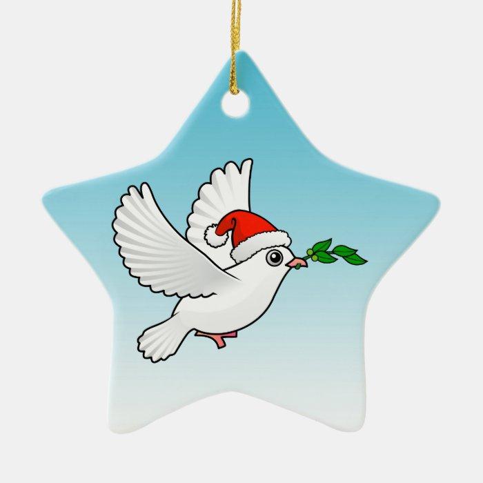 Cute Peace Dove with Santa Hat Ceramic Ornament
