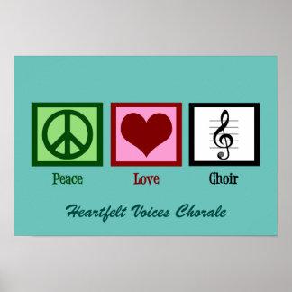 Cute Peace Love Choir Custom Teal Poster