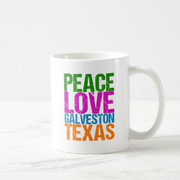 Beach Themed Cute Peace Love Galveston Texas Coffee Mug