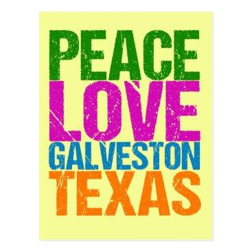 Beach Themed Cute Peace Love Galveston Texas Postcard