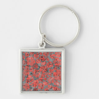 Cute Peach and Gray Splotch Abstract Colorful Silver-Colored Square Keychain