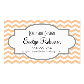 Cute Peach and White Chevron Stripes Double-Sided Standard Business Cards (Pack Of 100)
