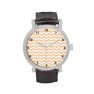 Cute Peach and White Chevron Stripes Wristwatches
