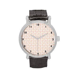 Cute Peach and White Retro Circles Pattern Wristwatches