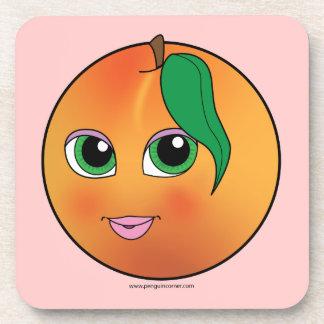 Cute Peach Beverage Coaster