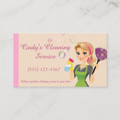 Cute Peach Cartoon Maid House Cleaning Services Business Card