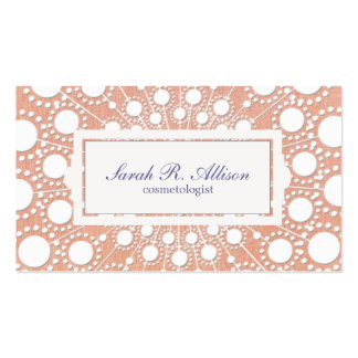 Cute Peach Circle Pattern Beauty Salon and Spa Double-Sided Standard Business Cards (Pack Of 100)
