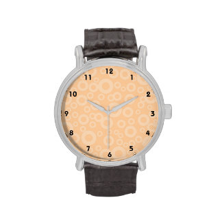 Cute Peach Circles Pattern Watches