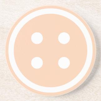 Cute Peach Sewing Button Drink Coaster