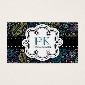 Cute Peacock Colors Paisley Calling Card