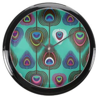 cute peacock feather pattern aqua clocks