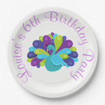 Cute Peacock Green and Purple Paper Plate
