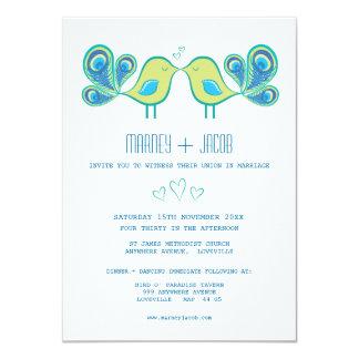 Cute Peacock Love Birds Hearts Wedding 4.5x6.25 Paper Invitation Card