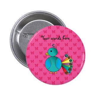 Cute peacock pink butterflies pinback buttons