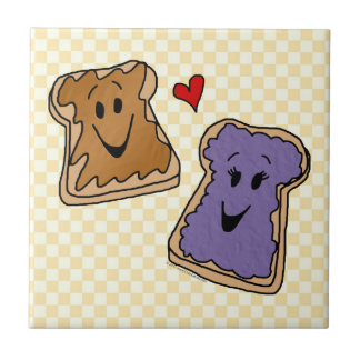 Cute Peanut Butter and Jelly Best Friends Ceramic Tile