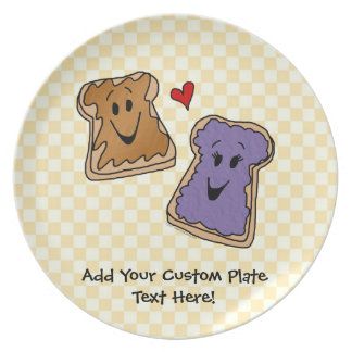Cute Peanut Butter and Jelly Best Friends Dinner Plate