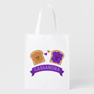 Cute Peanut Butter and Jelly Reusable Grocery Bag