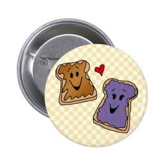 Cute Peanut Butter Heart Jelly Cartoon Buttons
