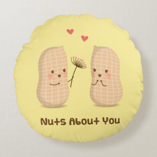 Cute Peanuts Nuts About You Pun Love Humor Round Pillow
