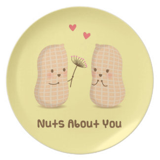 Cute Peanuts Nuts About You Pun Love Humor Melamine Plate