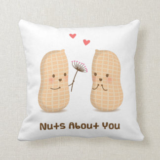 Cute Pillow Puns : Cute Peanuts Nuts About You Pun Love Humor Throw Pillows
